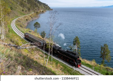 May 27 2018: Old steam train rides on the Circum-Baikal Railway, lake Baikal, Russia
