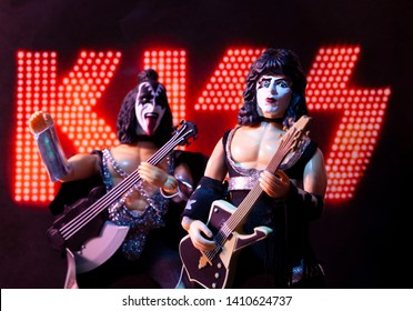 MAY 27 2019: Mego Corporation action figures of the rock and roll band Kiss - Gene Simmons as the Demon and Paul Stanley as the Starchild - recreation of a concert with the KISS logo.