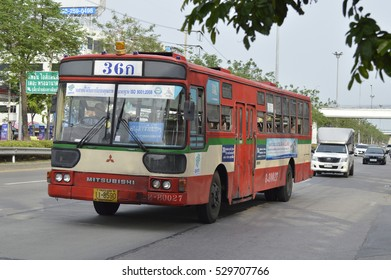 May 27th 2016 Buses in Thailand on the road in bangkok thailand.