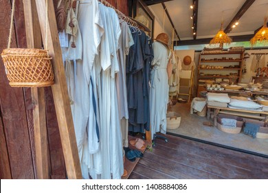 May 27th 2019- Tulum Mexico Clothing shop on the beach road. Boho chic clothing in a boutique in tulum