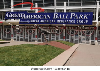 May 28, 2016, Cincinnati, OH Great American Ball Park Main Entrance, Front Entrance, home of the MLB Major League Baseball Team Cincinnati Reds with Joe Nuxhall Statue, Reds Legends of Crosley Field