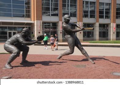 May 28, 2016, Cincinnati, OH Ernie Lombardi and Frank Robinson statues outside the Great American Ball Park Main Entrance, Front Entrance, home of the Cincinnati Reds MLB Major League Baseball Team