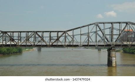 May 28, 2016, Cincinnati, OH, Clay Wade Bailey Bridge, railroad bridge over the Ohio River between Ohio and Kentucky