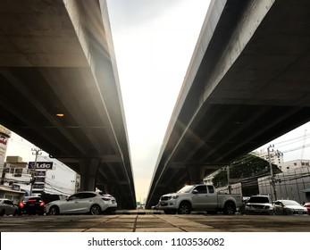 May 28, 2018 - 4 pm Traffic under the bridge Chaengwattana Road Laksi Bangkok Thailand