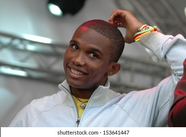 "MAY 29, 2006 - BERLIN: Samuel Eto'o at the event ""Together for Africa"", Hackescher Markt, Berlin."