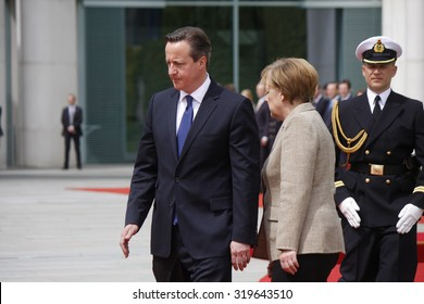 MAY 29, 2015 - BERLIN: David Cameron, Angela Merkel at a reception with military honours at the Chanclery in Berlin.