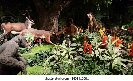May, 29, 2016, Petersburg, KY, The, Creation, Museum, Adam in the garden of Eden surrounded by animals, on display