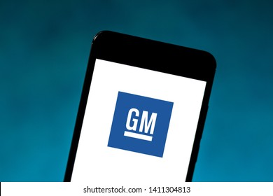 May 29, 2019, Brazil. In this photo illustration the General Motors Corporation (GM) logo is displayed on a smartphone.