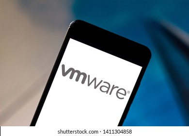May 29, 2019, Brazil. In this photo illustration the VMware logo is displayed on a smartphone.