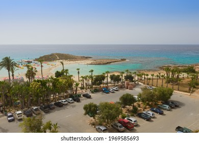May 3, 2014: View of the Mediterranean coast from the roof of the resort. Ayia Napa. Cyprus.