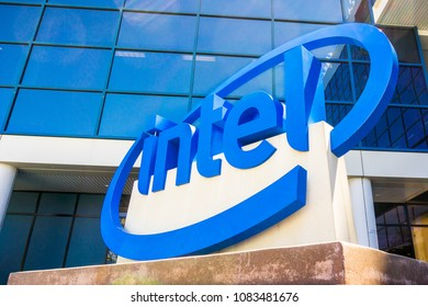May 3, 2018 Santa Clara / CA / USA - Intel sign in front of the museum located in Silicon Valley