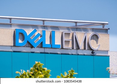 May 3, 2018 Santa Clara / CA / USA - DELL EMC logo on the headquarters building located in Silicon Valley, south San Francisco bay area