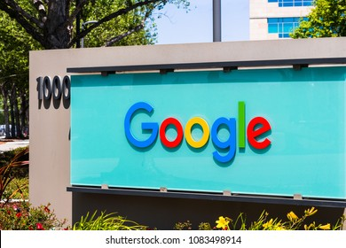 May 3, 2018 Sunnyvale / CA / USA - Google sign in front of the entrance to one of their office buildings located in Silicon Valley