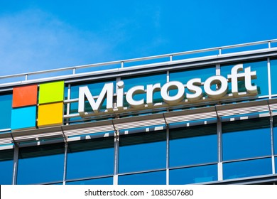 May 3, 2018 Sunnyvale / CA / USA - Microsoft logo at the company's office building located in Silicon Valley, south San Francisco bay area