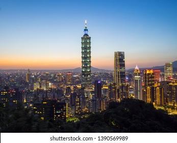 MAY 3 2019- the night view of Taipei 101 in Taipei, Taiwan