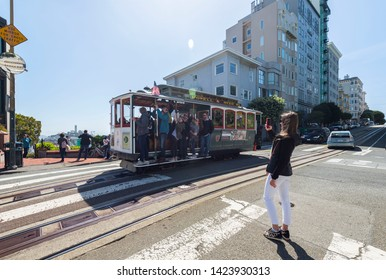 May 3, 2019 - San Francisco, United States: Cable Car, Historic Tram at the top of Lombard Street