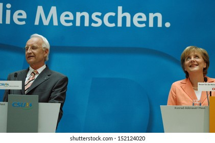 MAY 30, 2005 - BERLIN: Edmund Stoiber and Angela Merkel during the announcement for the candidate of the CDU for the upcoming general elections in Germany in the Konrad-Adenauer House in Berlin.