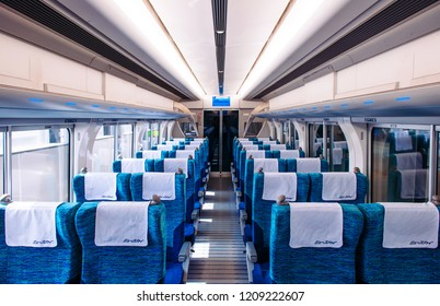 MAY 30, 2013 Nagoya, Japan - Modern design interior and blue fabric coach seats of μ-sky - Chubu Centrair airport limited express train