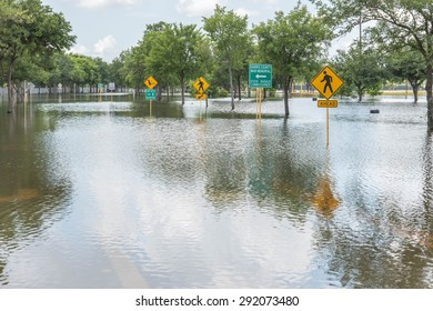 May 30, 2015 - Addicks Reservoir Park, Houston, TX: Standing flood waters over roads and fields at Addick's Reservoir in Houston, Texas