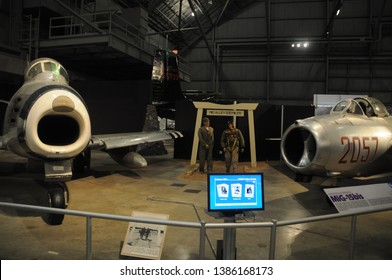 May 30, 2016, Dayton, OH North American F-86 Sabre and North Korean MIG-15 jet fighter plane flown by No Kum Sok on display at the National Museum of the United States Air Force