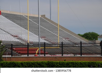 May 30, 2016, Oxford, OH Miami University Yager Stadium college football field with home team side of the stands and yellow goal post