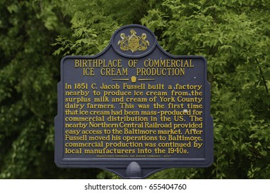 May 30, 2017, York County Pennsylvania - This Historic marker recognizes the location of the first commercial mass produced ice cream.