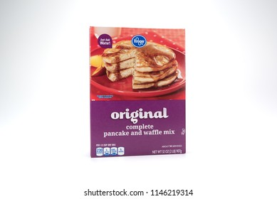 May 30, 2018: Conceptual Editorial of Pancake Mix Isolated on White Background