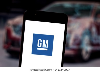 May 30, 2019, Brazil. In this photo illustration the General Motors (GM) logo is displayed on a smartphone.