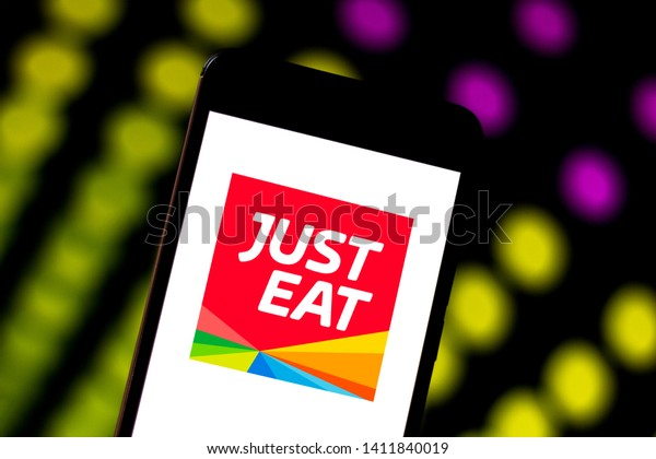 May 30, 2019, Brazil. In this photo illustration the Just Eat logo is displayed on a smartphone.