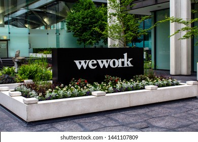 May 30, 2019 - Vancouver, B.C. - WeWork sign in front of the building