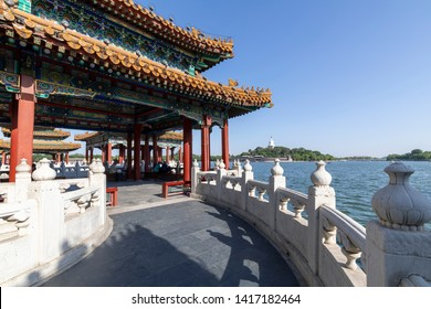 May 30, 2019, Wulong Pavilion, Beihai Park, Beijing, China, under the blue sky