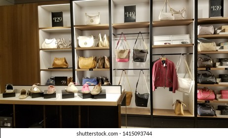 May 30,2019, Coach store, Outlet Waipahu, Hawaii : May 30,2019, Coach store, Outlet Waipahu, Hawaii : Women bags, shoes, clothes by Coach brand selling on shelf