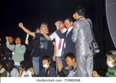 May 31, 2008. Seoul. Republic of Korea. Korean citizens are protesting against peaceful candlelight vigils against US beef imports over 30 months of age, which could be infected with mad cow disease.