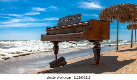May 31, 2018; Romania, Vama Veche / Black Sea: Piano on the beach