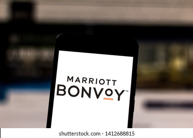 May 31, 2019, Brazil. In this photo illustration the Marriott International logo is displayed on a smartphone.