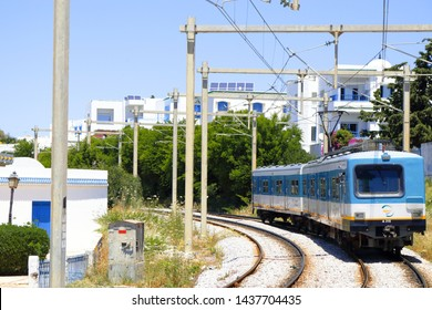 May 31 2019: Sidi Bou Said, Tunisia: Train Sidi Bou Said near the blue city. From here the trains depart and arrive in the direction of Tunis, Tunisia