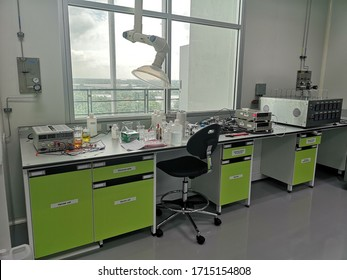 May 31, 2019: Work desks and laboratory equipment in Bangkok, Thailand.