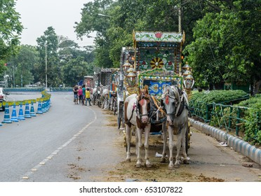 May 31,2017. Horse carriages? are standing for passengers in front of Victoria Memorial ,Kolkata, West bengal, India. Selective focus is used.