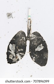 May 31st World No Tobacco Day.  Poison of cigarette. lungs of smoker with cigarette burned , No Smoking Concept