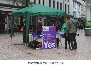 May 3rd, 2018, Cork, Ireland - a stand promoting the Yes vote for the 25th of May referendum regarding the issue of abortion; Irish citizens be asked whether or not to delete Eighth Amendment.