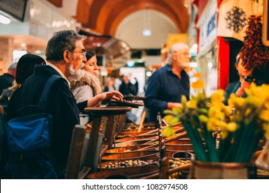 May 3rd, 2018, Cork, Ireland - English Market, a municipal food market in the center of Cork, famous tourist attraction of the city: rustic olives stand