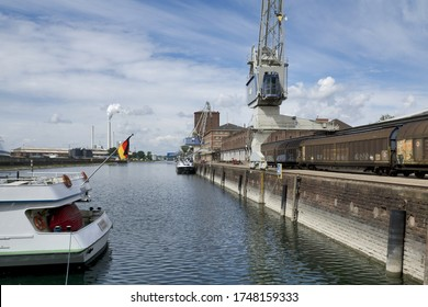 May 3rd 2020, Karlsruhe, Germany: port of Karlsruhe with river rhine, ships, cranes and storage buildings