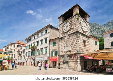 May 4, 2013. Clock Tower inside Stari Grad. Kotor Montenegro.