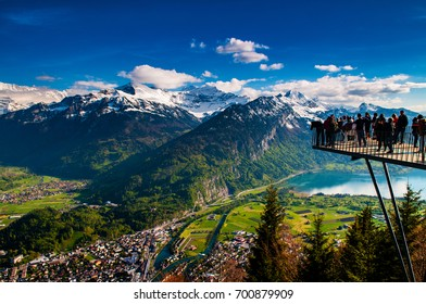 May 4, 2016 - Interlaken, Switzerland : Aerial view of Interlaken and Swiss Alps from Harder Kulm View point