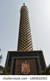 May, 4, 2019, Cairo, Egypt. The Cairo Tv. Tower with sculpture of Eagle of Saladin- National Emblem of Egypt, on Gezira Island.