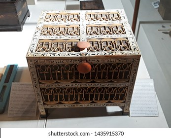 May, 4, 2019, Cairo, Egypt, Africa. The Grand Egyptian Museum. Coffer from the treasury, made from wood and ivory with applied gold and silver, from the tomb of the pharaoh Tutankhamun.