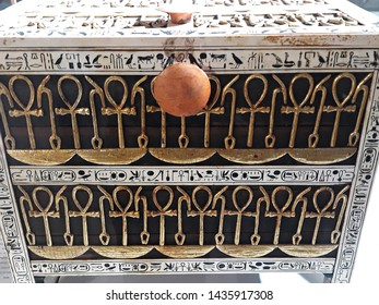 May, 4, 2019, Cairo, Egypt, Africa. The Grand Egyptian Museum. Detail of a coffer from the treasury, made from wood and ivory with applied gold and silver, from the tomb of the pharaoh Tutankhamun.