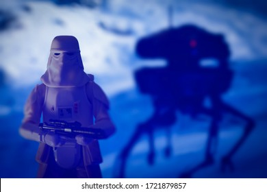 MAY 4 2020: scene from Star Wars The Empire Strikes Back on Hoth, Snowtrooper and probe droid - Hasbro action figures