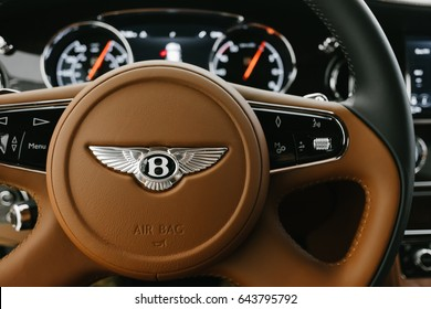 May 4th 2017 - New York, NY - The high quality interior of the all new Bentley Mulsanne.Behind the steering wheel.