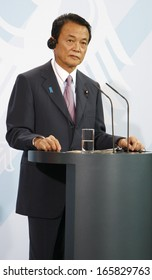 MAY 5, 2009 - BERLIN: Japanese Prime Minister Taro Aso at a press conference after a meeting with the German Chancellor in the Chanclery in Berlin.